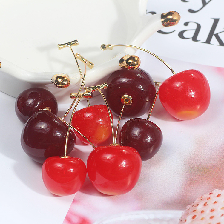 Korean cute sweet cherry cherries earrings for women fashion jewelry wild fruit long earrings factory wholesale earrings