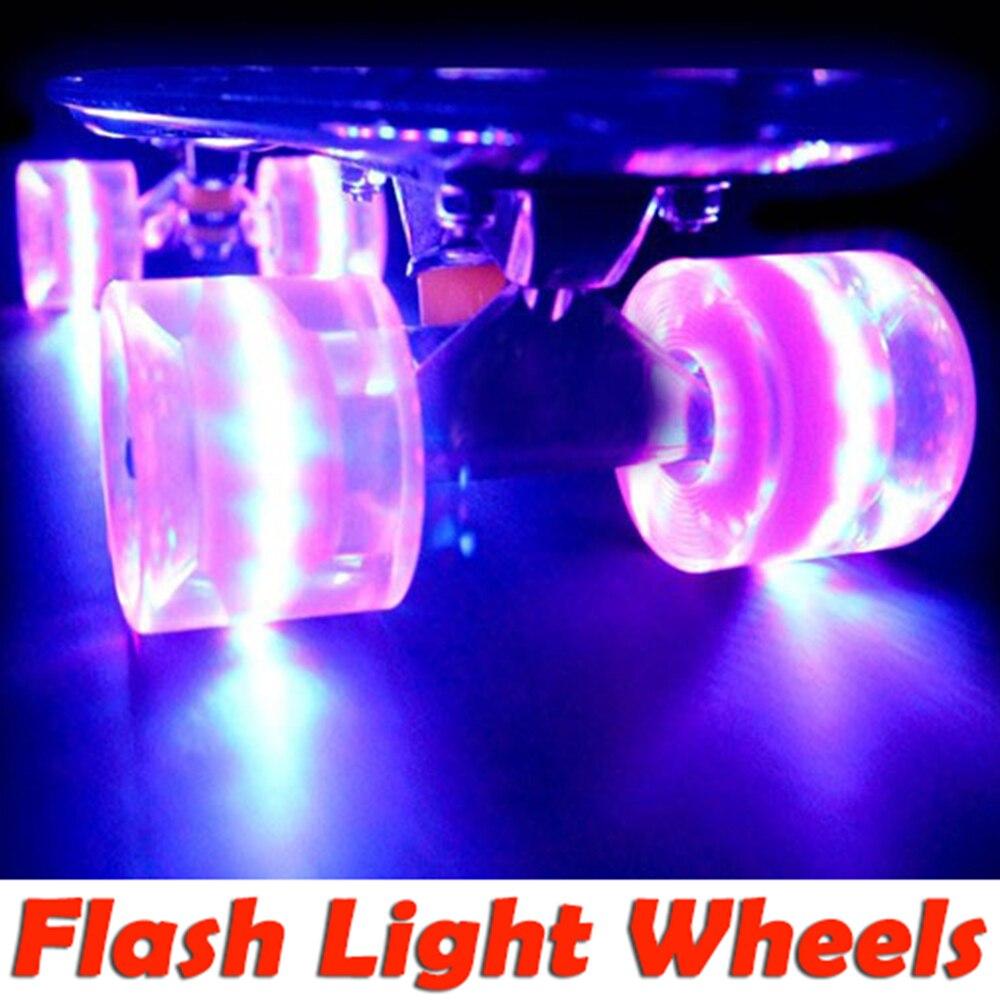 Envío Gratis Fish patineta luz LED ruedas intermitentes plátano Penny estilo único Longboard mini tablero del patín del crucero