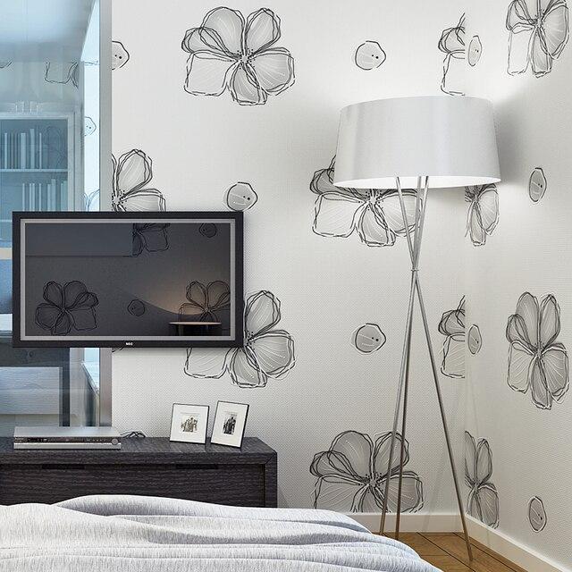 Moderne Einfache 3D Nicht woven Relief Tapete Schwarz Weiß Kreative ...