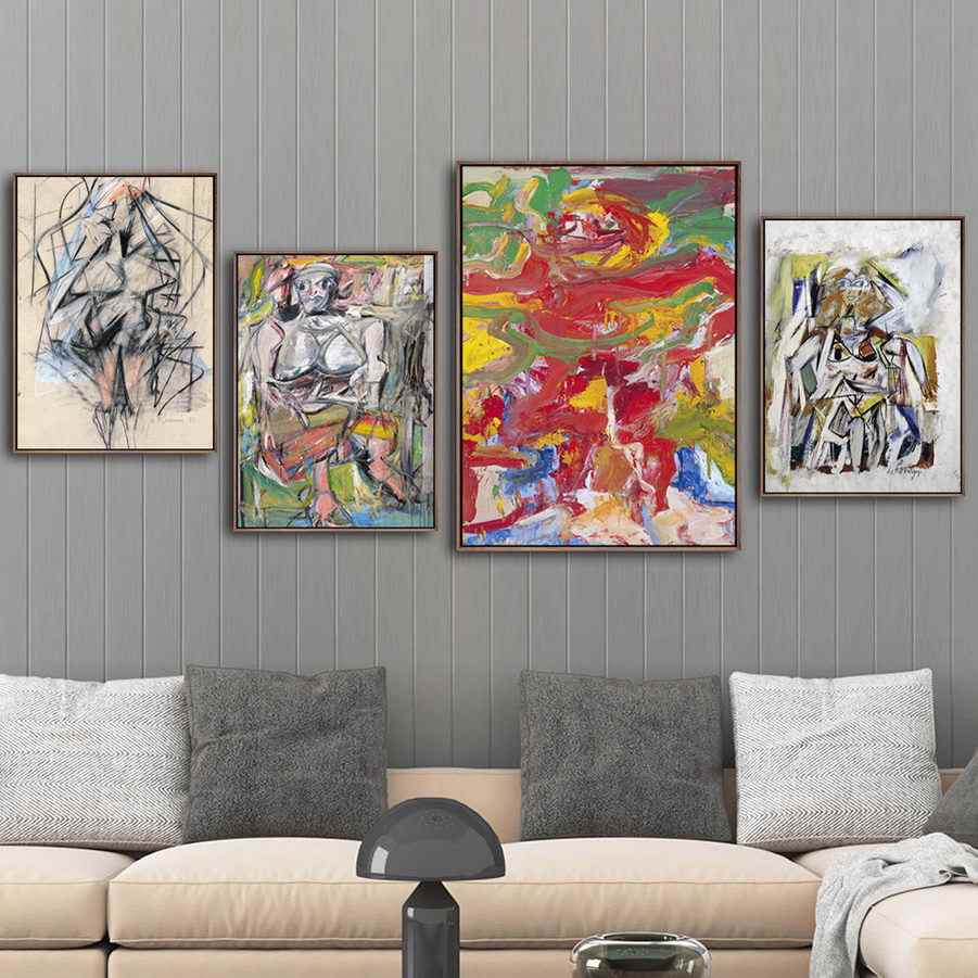 Décoration de la maison impression Art mur photos affiche toile Paitings pays-bas Willen de Kooning dessins abstraits