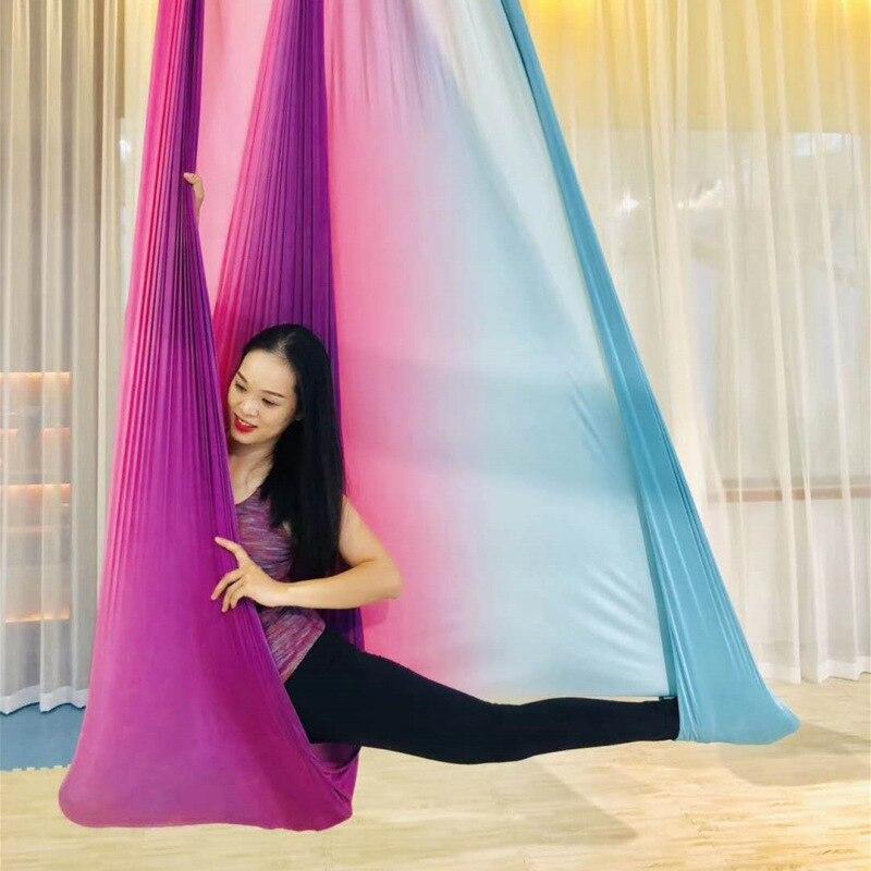 Intelligent Multicolour 5 Meters Aerial Anti-gravity Yoga Hammock Swing Flying Yoga Bed Bodybuilding Gym Fitness Equipment Inversion Trapeze Yoga Yoga Belts