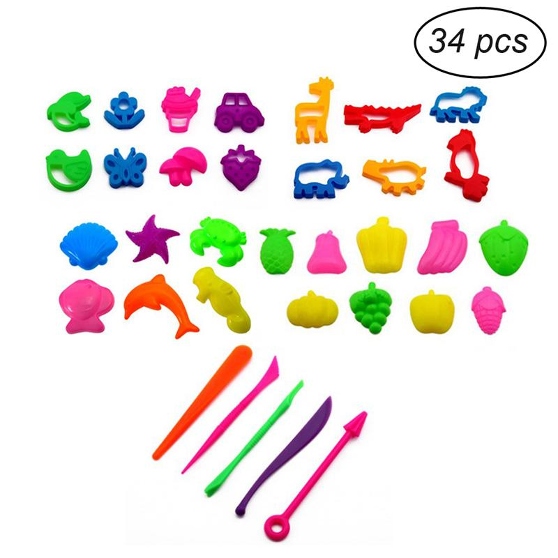 34pcs Play Dough Plasticine Mold Tools Set Kit Sand Begin Kids Baby Ability Playdough Polymer Clay Beach Toy Traning Toy