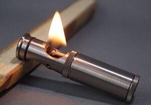 Смотреть видео DXJ 7,8*1,8 см 55 г ручной работы TC4 чистый титан керосин Ретро старинная зажигалка
