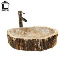 Умывальник из окаменелого дерева в винтажном и пасторальном стиле для ванной комнаты