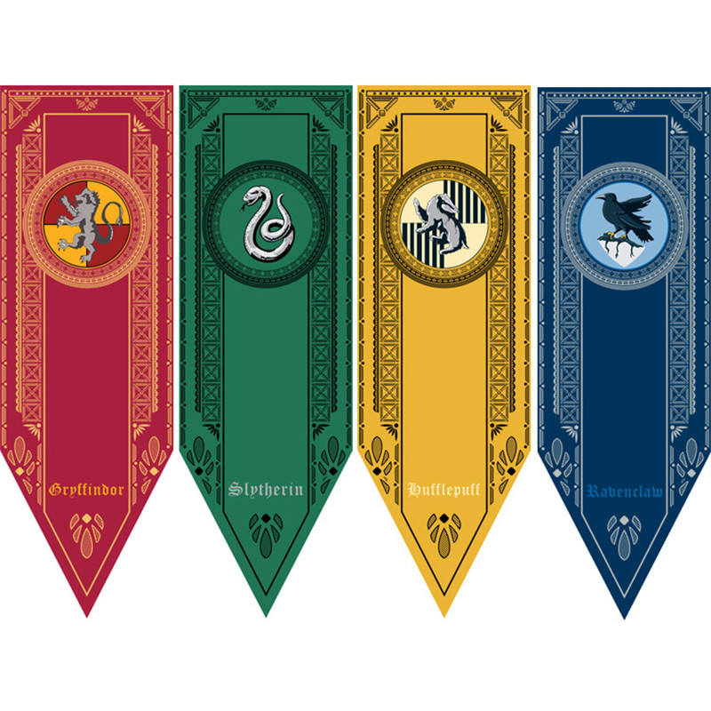 Harri Potter Party Supplies College Flag Banners Gryffindor Slytherin Ravenclaw Kids Gift Toys Magic Cosplay Home Decoration cotton hogwarts harri cosplay potter toys college gryffindor slytherin baseball hat summer cap hip hop magic hats toys for child