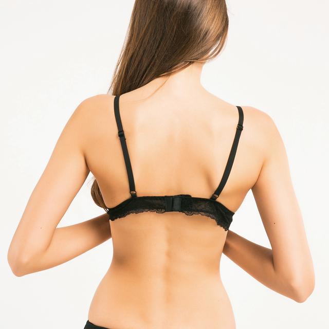 Missomo 2017 New Fashion Women Deep V Jacquard Soft Black Sexy Lace Trim Bralette Adjustable Straps Bras