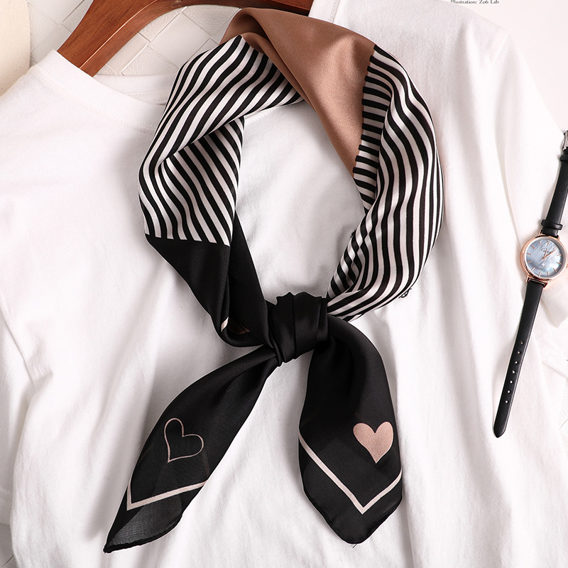 70*70cm Women Silk Like Square Stripe Print Scarf Neckerchief Fashion Headscarf Women's Scarf Hairband Handbag Handle Ribbon