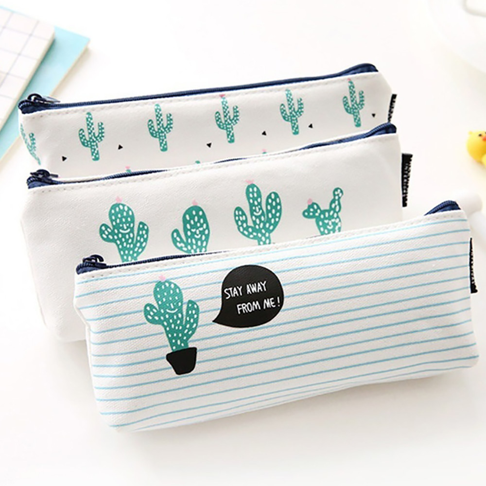 Fashion Zipper Pouch 2019 Cute Plants Stationery Pencil Pen Case Cosmetic Makeup Bag Zipper Pouch Case