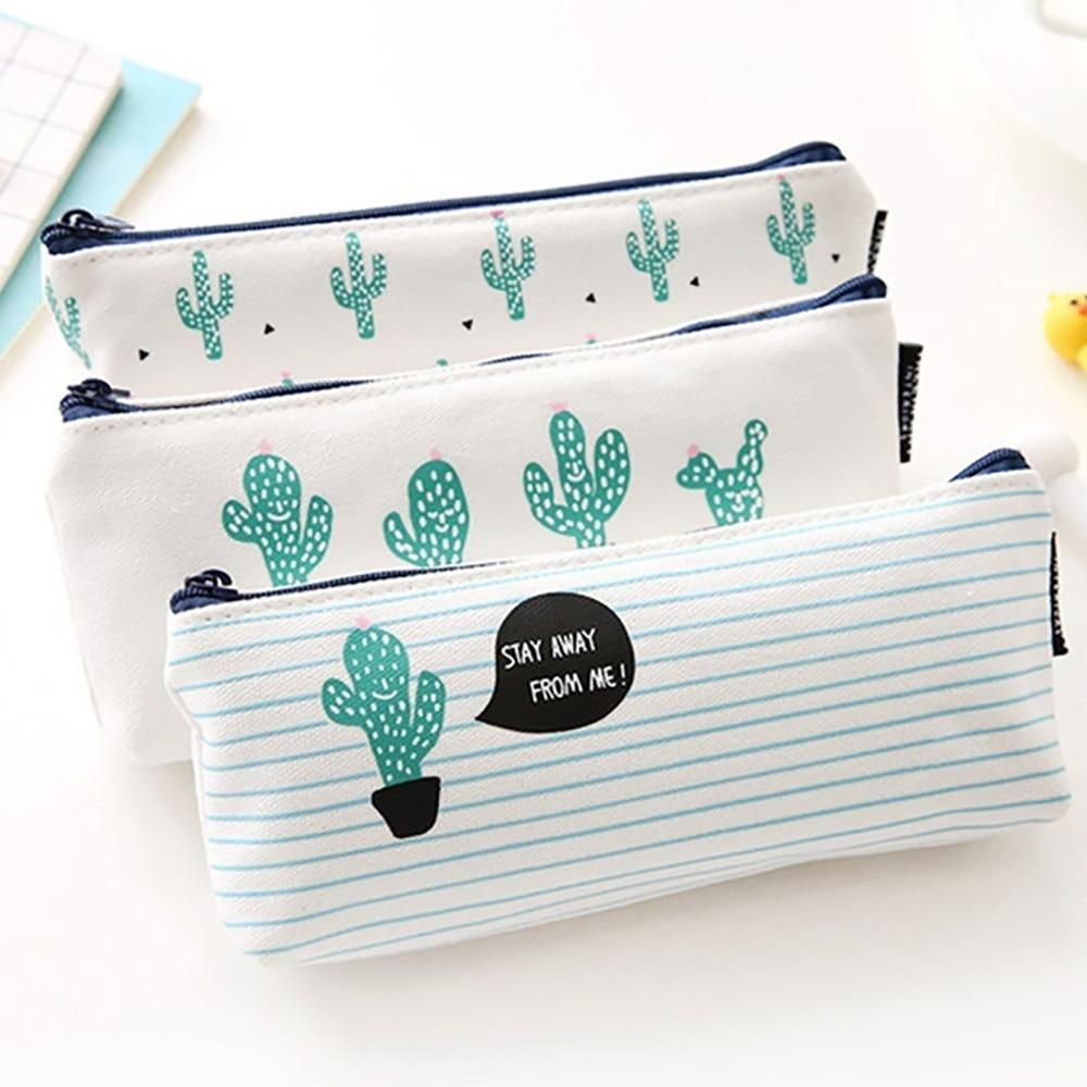 Fashion Zipper Pouch 2019 Cute Plants Stationery Pencil Pen Case Cosmetic Makeup Bag Zipper Pouch Case