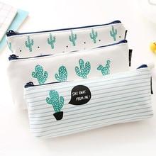 Fashion Zipper Pouch 2019 Cute Plants Stationery Pencil Pen Case Cosmetic Makeup Bag