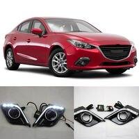 A Pair White Daytime Running Light Fog Light DRL lamp For Mazda 3 Axela 2014-16