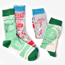 Casual Fashion Art Socks Men Cotton Crew Long Letters Character Print Skate Brand Happy Harajuku Novelty Calcetine Sox Wholesale