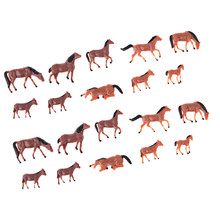 20Pcs 1/87 HO Scale Horses Model Painted Animal Figure for Miniature Model Train Layout Farm Zoo Wild Animal Park(China)