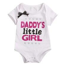 Модный хлопковый комплект для новорожденных, младенцев, маленьких девочек Боди хлопок короткий рукав костюм с надписью ползунки комбинезоны для детей от 0 до 18 месяцев, новое