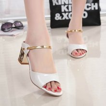 Women's 2015 Thick With Peep Toe Summer Women High Heels Sandals Silver Shoes Gold Online