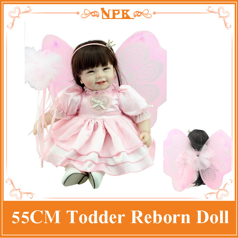 Butterfly Special Clothes 55cm 22inch Reborn Toddler Dolls Lifelike Reborn Baby Girl Dolls Best Bebe Reborn As Toys For Children short curl hair lifelike reborn toddler dolls with 20inch baby doll clothes hot welcome lifelike baby dolls for children as gift