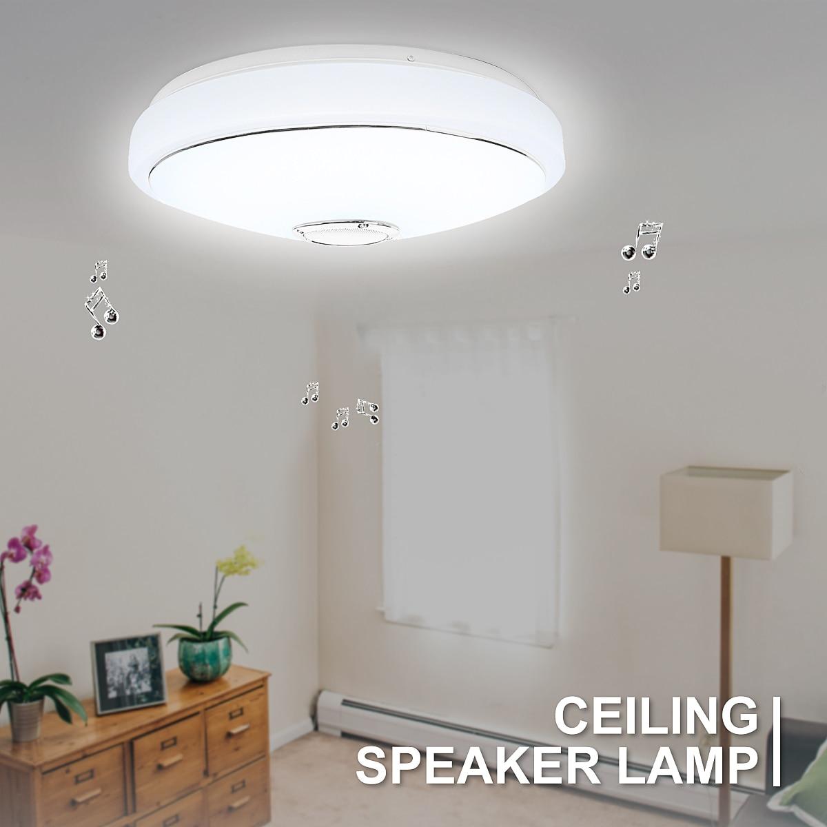 Lumière de plafond moderne à LEDs bluetooth haut-parleur musique 48 ampoule APP téléphone télécommande RGB haut-parleurs de plafond lampe éclairage de salle intérieure