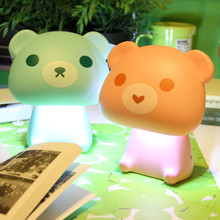 Cute bear USB rechargeable LED Desk lamp animal Cartoon Reading Night Light table lamp Dimmer lamp