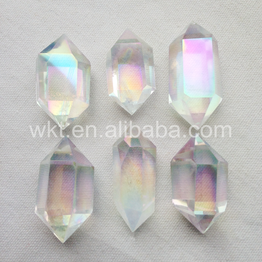 WT G164 Wholesale 10pcs Angel aura crystal quartz point beautiful colors crystal stone for jewelry making