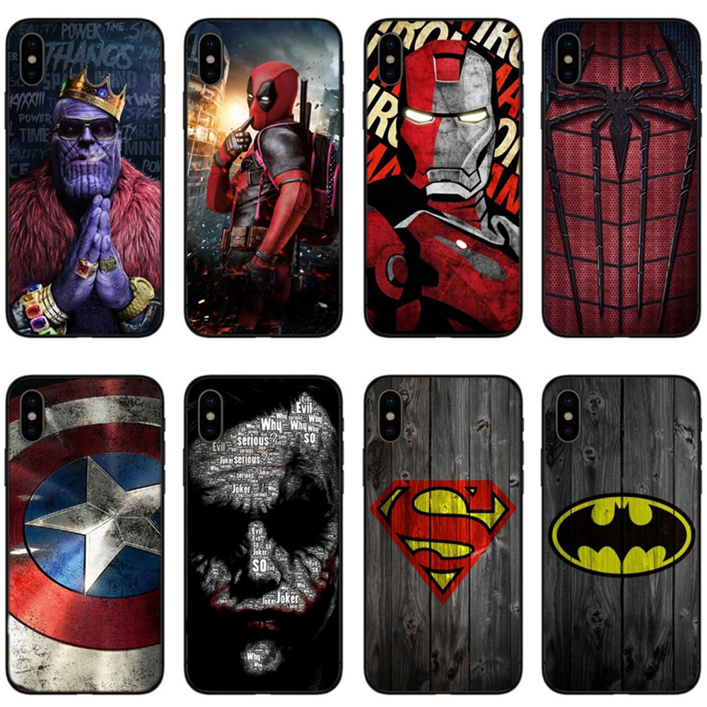 Marvel Avengers Endgame Iron man Spider-man Deadpool Silicone Cover Phone Case For iPhone X 8 7 Plus 6 6s Plus 5S SE XS MAX XR чехлы марвел