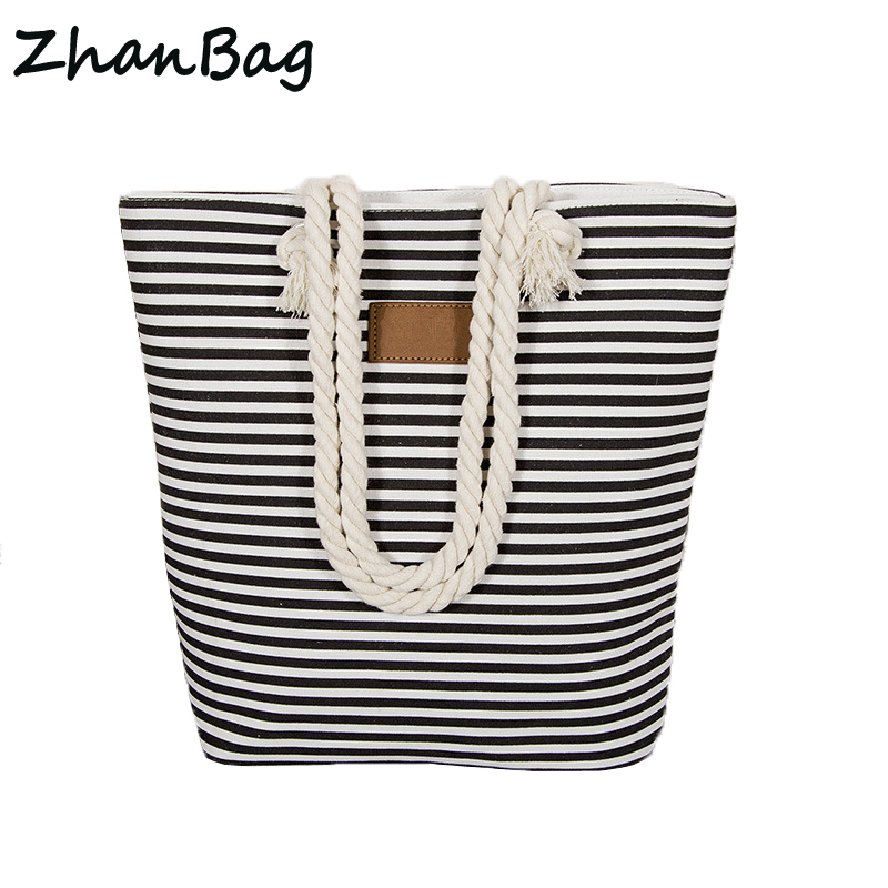 Women Stripes Canvas Beach Bag Large Capacity Female Zipper Shoulder Bag Ladies Polyester Totes Girl's Casual Shopping Handbag fabra women beach canvas bag patchwork color stripes printing handbags lady large shoulder bag totes casual bolsa shopping bags