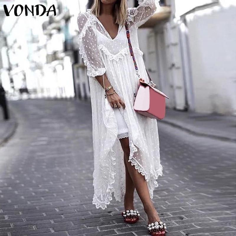 VONDA Summer Sexy White Lace Dress 2019 Women V-Neck Dot Hollow Asymmetrical Hem Dress Bohemian Holiday Vestidos Plus Size S-5XL