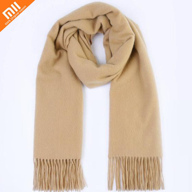 Xiaomi mijia pure cashmere classic solid color tassel scarf shawl 100% cashmere thick warm men and women scarf ladies shawl stylish rose leaf tassel voile scarf