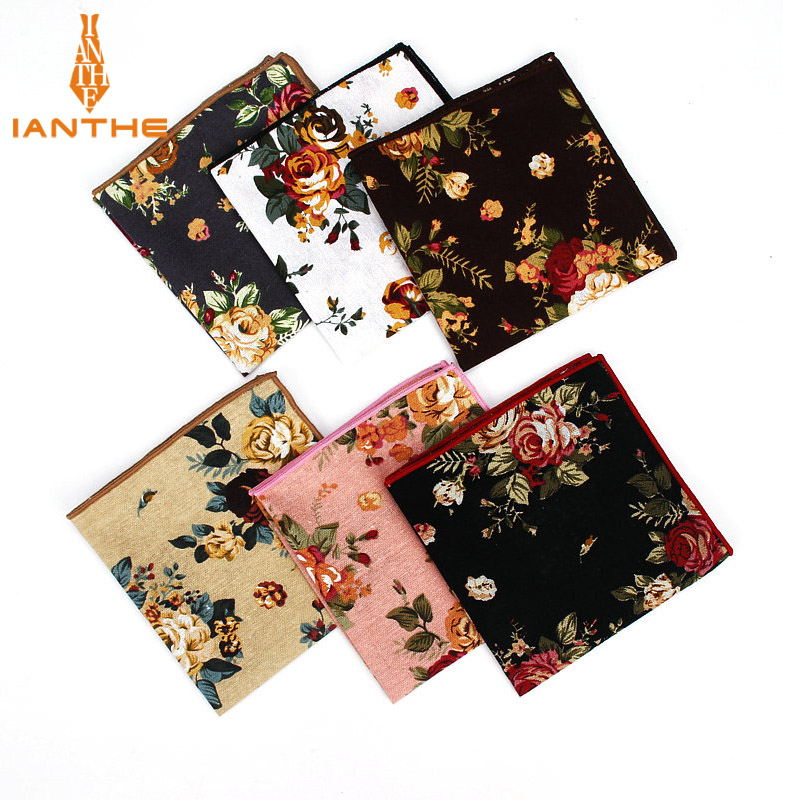 Men's Suits Linen Handkerchiefs Woven Floral Printing Pocket Square Hankies Men's Business Casual Square Pockets Hanky Towel
