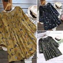 Женский модный принт, свободный плиссированный 3/4 рукав, круглый вырез, длинный отрезок, Корейская версия, винтажный стиль, ropa coreana mujer#20