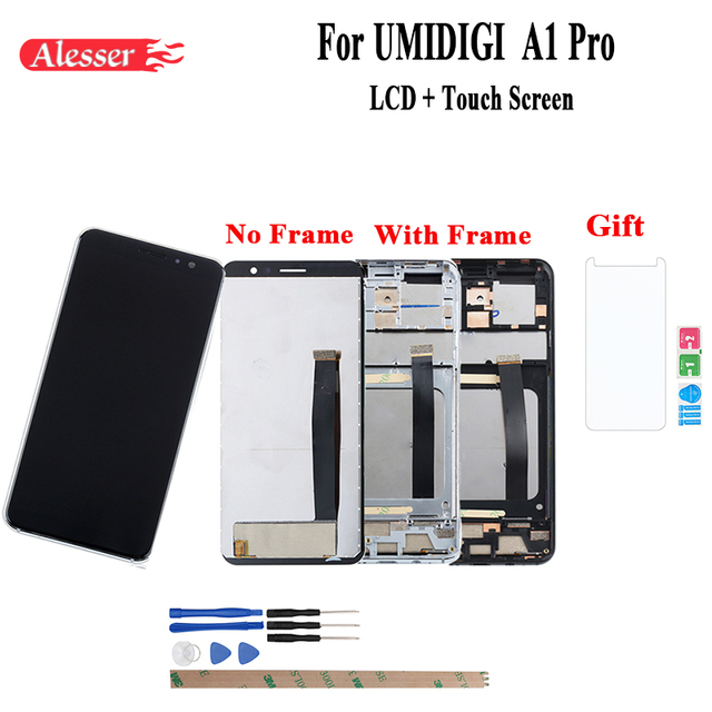Alesser Voor Umi Umidigi A1 Pro Lcd scherm En Touch Screen Met Frame Assembly Reparatie Onderdelen Voor Umi Umidigi A1 pro + Film