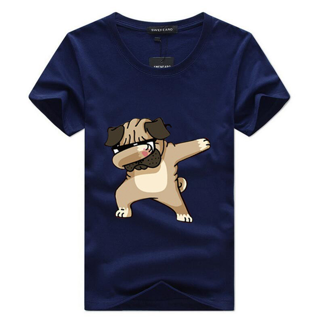 SWENEARO Men's T-shirts Fashion Animal Dog Print Hipster Funny t shirt Men Summer Casual street Hip-hop Tee shirt Male Tops 5XL