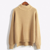 Harajuku Winter Sweaters 2016 Korean New High Collar Women Sweater Small Wild Short Front Long Slit