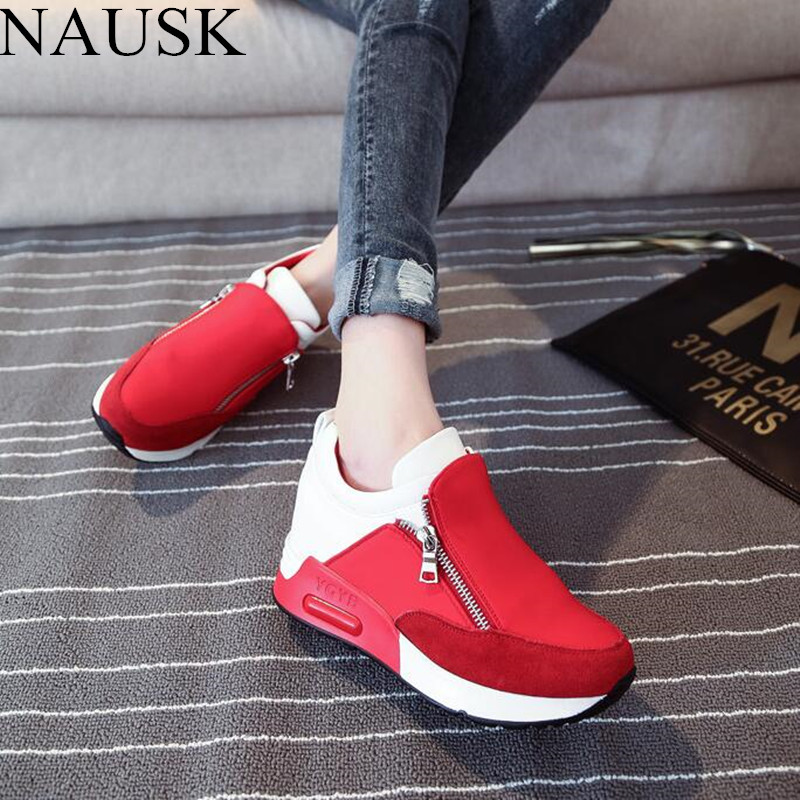 NAUSK New Women Casual Shoes Height Increasing Zipper Breathable Women Walking Flats Trainers Shoes Autumn Platform Sneakers