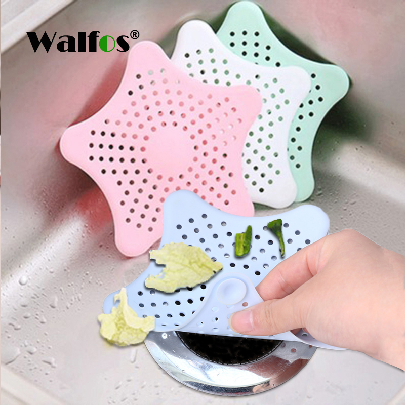 WALFOS 1Pc Silicone Kitchen Sink Filter Sewer Drain Home Cleaning Tool Hair Colanders Strainers Filter