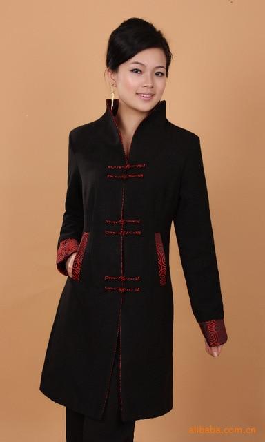 Black Winter Overcoat Chinese Women's Cashmere Long Jacket Coat Size S M L XL XXL XXXL 4XL Free Shipping 2987-2