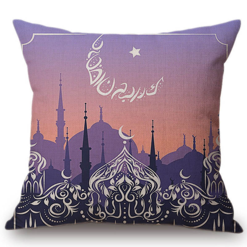 2018 New Muslim Ramadan Decoration Throw Pillow Case Mosque Dubai Middle East Home Decor Cotton Linen Cushion Cover 45x45cm