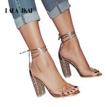 Stylowe sandały na kryształowym słupku LALA IKAI