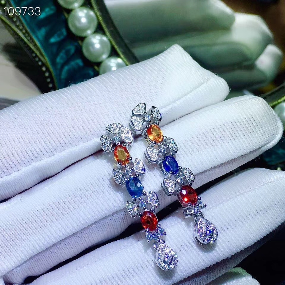natural Multicolor sapphire drop earrings S925 silver natural gemstone earrings women Luxurious long Line bowknot woman partynatural Multicolor sapphire drop earrings S925 silver natural gemstone earrings women Luxurious long Line bowknot woman party