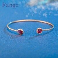 Fango Hot 2017 Fashion Luxury Crystal Bangle Women Opal Gem Charm Geometry Birthstone Cuff Bangle Bracelet