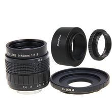 FUJIAN 50mm f/1.4 C Montar CCTV f1.4 Lens + Lente + Anel Macro para Canon EOS M M1 M2 M3