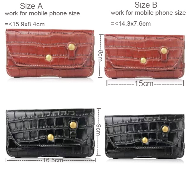 Crocodile Leather Mobile Phone Belt Clip Case Bags Pouch For Huawei Y7/Y7 Prime,Honor 9/V9/V8/7i/6A/5A,Y6/Y5(2017),Enjoy 7 Plus