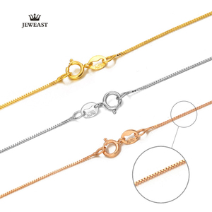 Image 5 - 18k Pure Gold Necklace Rose White Yellow Genuine Women Fine Simple Slim Thin Chains Hot Sale Matched For Any Pendant trendy new