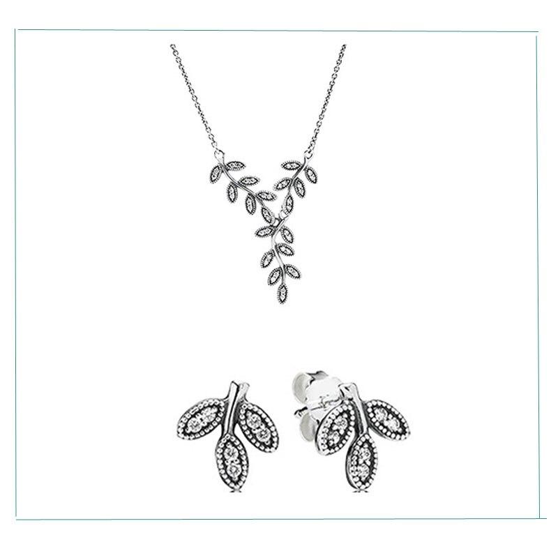 100% 925 ensembles en argent Sterling élégant feuilles collier et clous d'oreilles avec Zircon bricolage clair de haute qualité livraison directe de bijoux