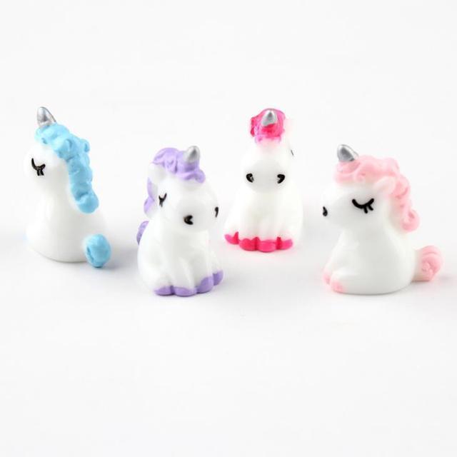 4 Pcs/set Cartoon Mini Resin Unicorn Miniature Cute Fairy Micro Landscape Unicorn Decor Figurine Home Garden Decors 5