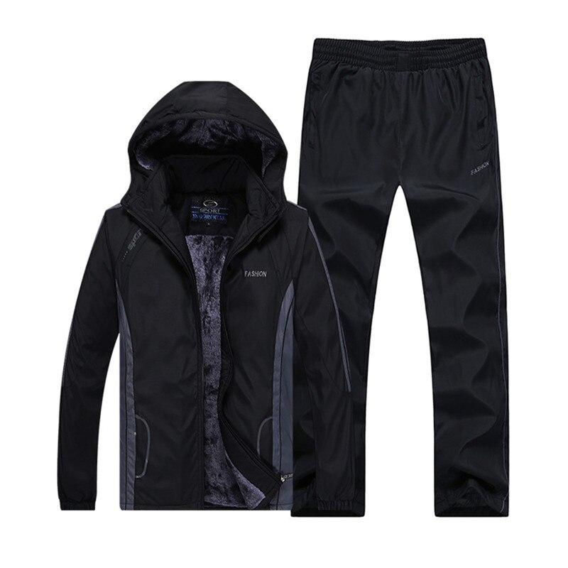 Hiver Survêtements Hommes Set Épaississent L'ouatine Hoodies + Pantalon Costume Chaud Casual Hommes de Sport Manteaux Grande Taille L-5XL