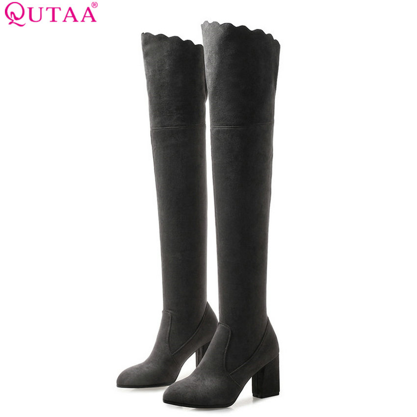 QUTAA 2019 Winter Shoes Women Over The Knee High Boots Platform Square High Heel Csual Slip on Women Boots Big Size 34-43