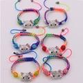10 PCS/LOT Cute hello kitty kids macrame shamballa bead bracelets bangles handmade DIY children bracelets for girls