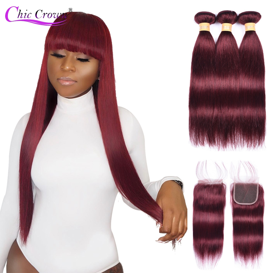 Burgundy Bundles With Closure Pre Colored Red Bundles Brazilian Human Hair 99j Bundles With Closure Cheveux