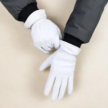 Leather gloves sheepskin gloves white female models elastic thin cashmere lining weatherization armband sets free shipping 2019