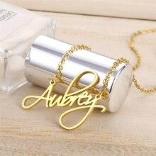 c756a3524ad2 Collar de nombre personalizado colgante de acero inoxidable collares de  placa de identificación para mujeres niñas mamá joyería .